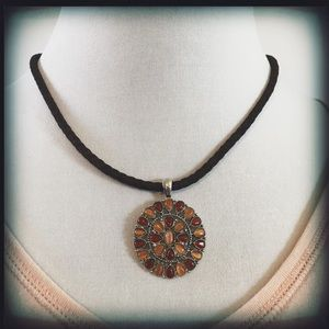 Chaps Brown Corded Medallion Necklace NWOT
